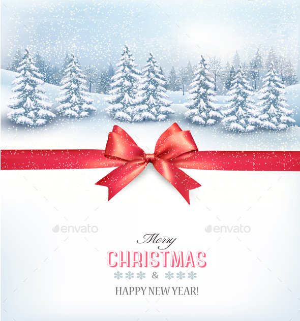 Christmas Background with a Snowy Landscape  - Christmas Seasons/Holidays