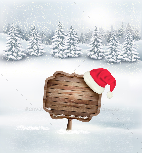 Winter Christmas Landscape with a Wooden Sign - Christmas Seasons/Holidays