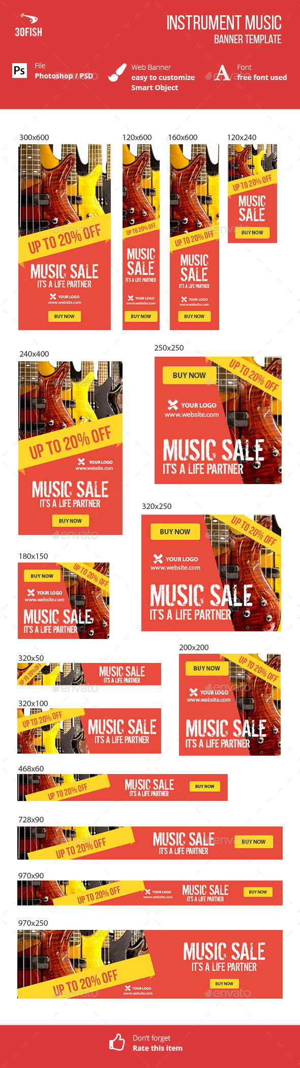 Instrument Music Sale - Banners & Ads Web Elements