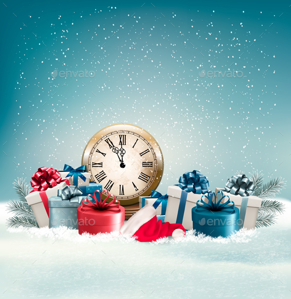 Winter Background With Presents Vector - Christmas Seasons/Holidays