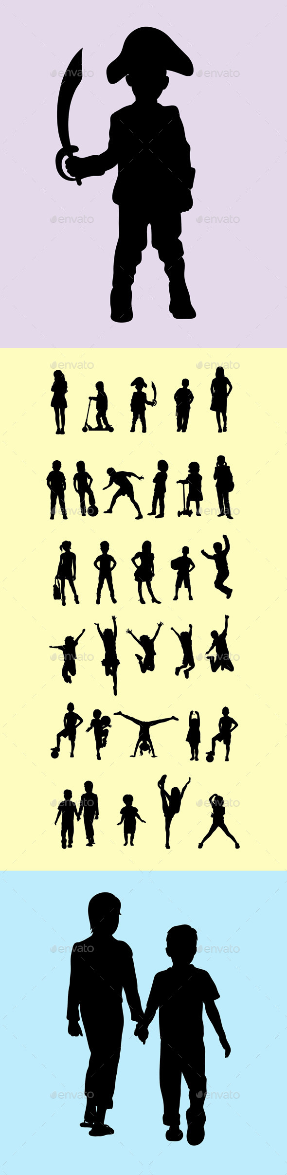 Children Silhouettes - People Characters