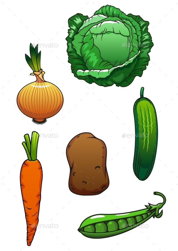 Fresh Healthful Isolated Vegetables - Food Objects