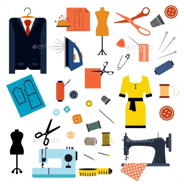 Sewing Or Tailoring Flat Icons And Items - Commercial / Shopping Conceptual