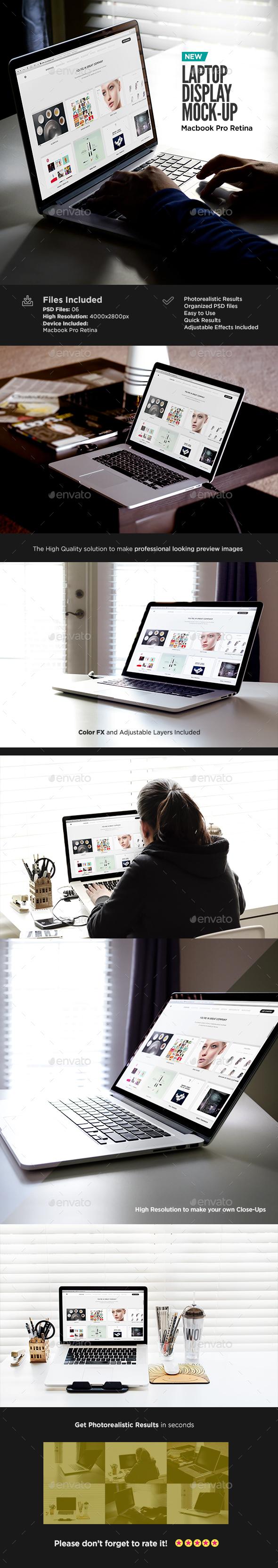 Macbook Retina Display Mock-Up  - Laptop Displays