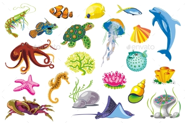 Set Of Sea Animals. - Animals Characters
