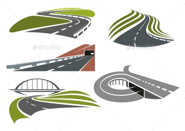 Roads And Highways Icons Set - Buildings Objects