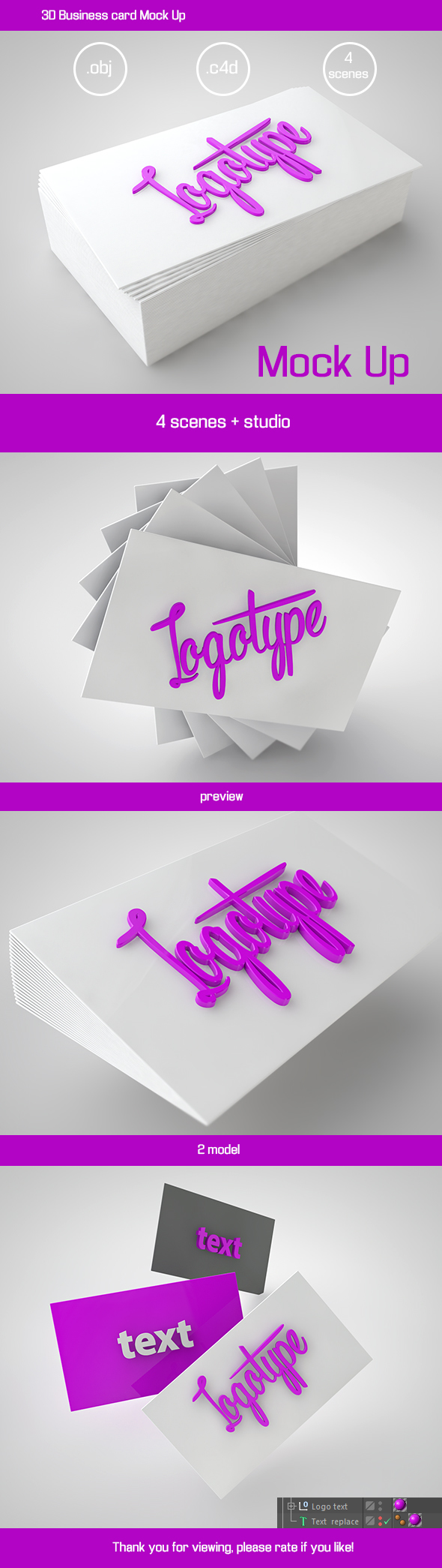 3D Business card Mock Up - 3DOcean Item for Sale