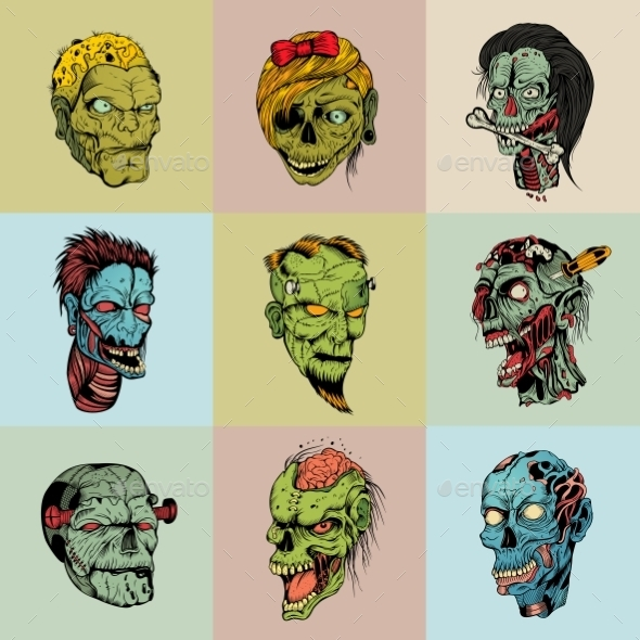 Set Of Nine Drawn Image With The Zombie. - Monsters Characters