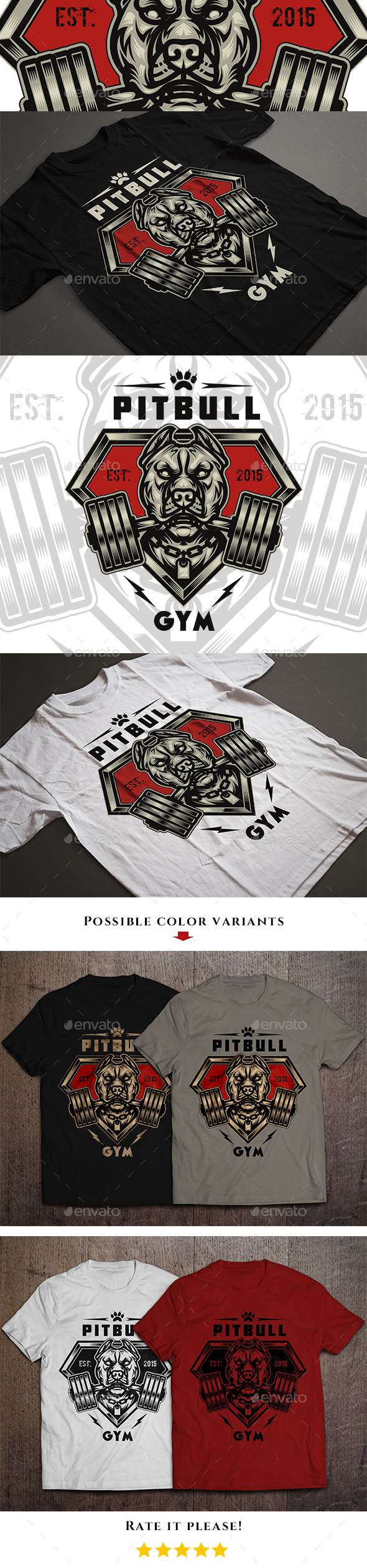 Pitbull Gym T-shirt Design - Sports & Teams T-Shirts