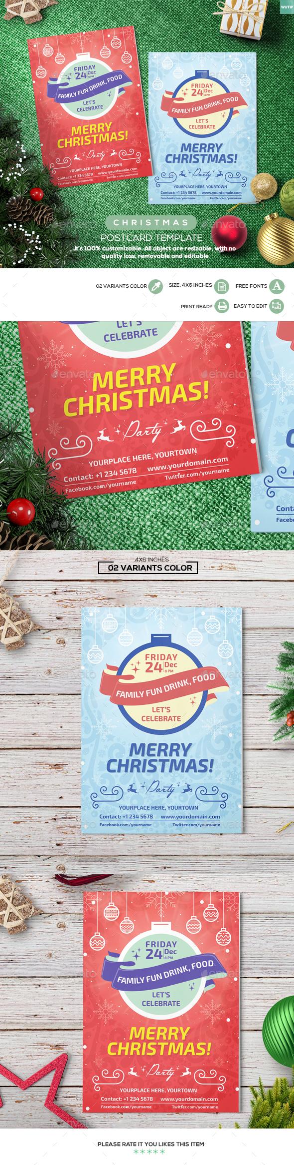 Christmas Postcard Template 01 - Holiday Greeting Cards