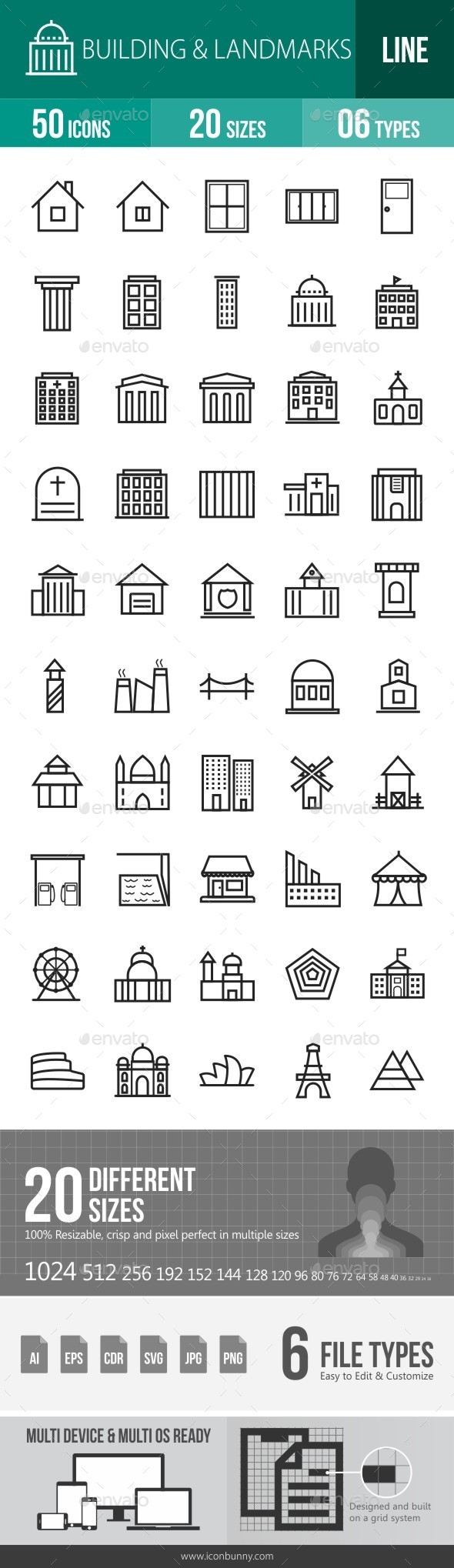 Buildings & Landmarks Line Icons - Icons