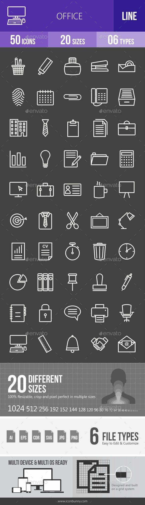 Office Line Inverted Icons - Icons