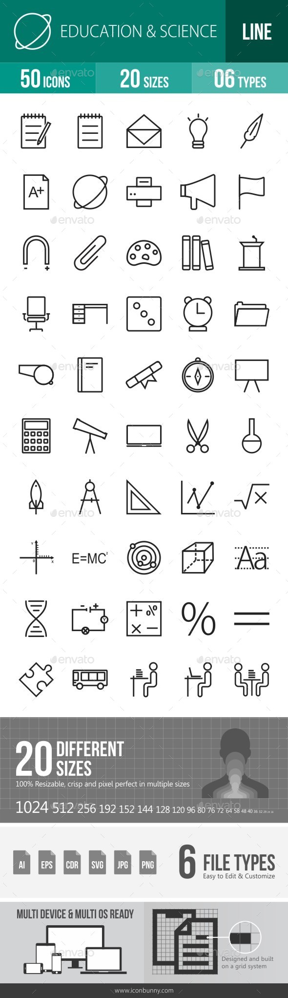 Education & Science Line Icons - Icons