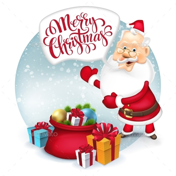 Happy Santa Clause With Gift Sack. Vector - Christmas Seasons/Holidays