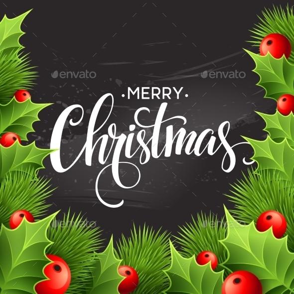 Christmas Decoration On Chalk Board. Vector - Christmas Seasons/Holidays