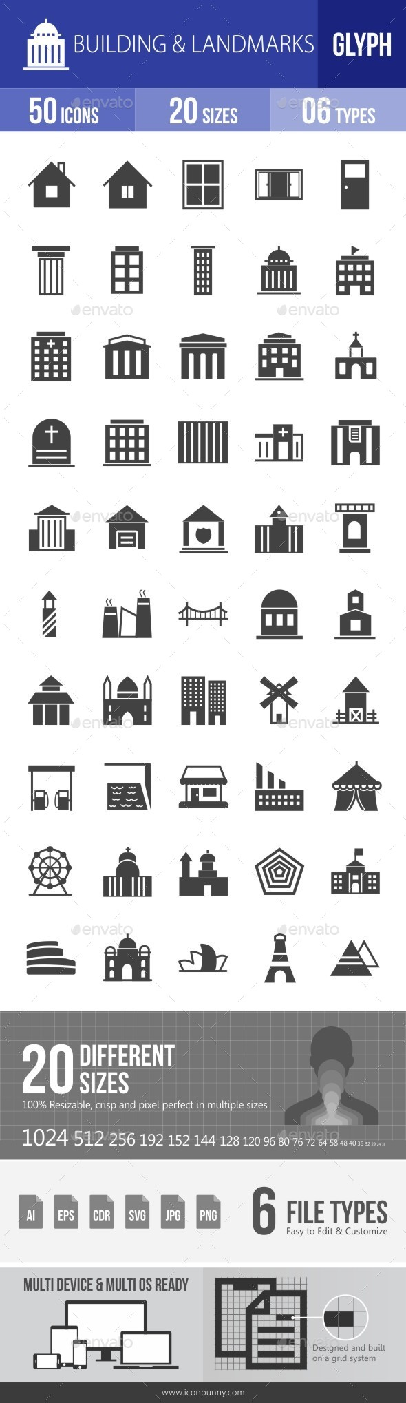 Buildings & Landmarks Glyph Icons - Icons