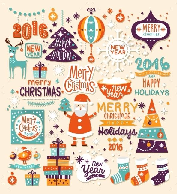 Christmas Set Of Labels, Emblems And Decorative - Christmas Seasons/Holidays