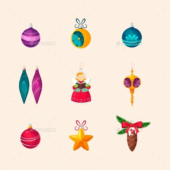 Christmas Tree Decorations. Vector Icon Set - Christmas Seasons/Holidays