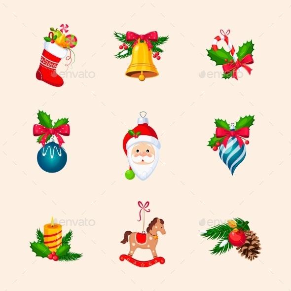 Christmas Tree Decorations. Bright Vector Icon Set - Christmas Seasons/Holidays