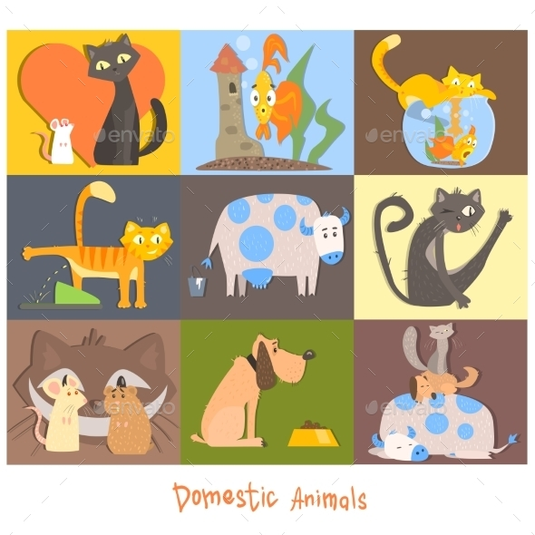 Cute Pets, Cats, Dogs And Their Actions, Emotions - Animals Characters