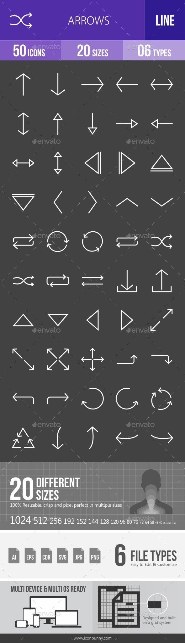 Arrows Line Inverted Icons - Icons