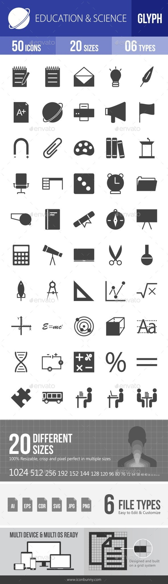 Education & Science Glyph Icons - Icons