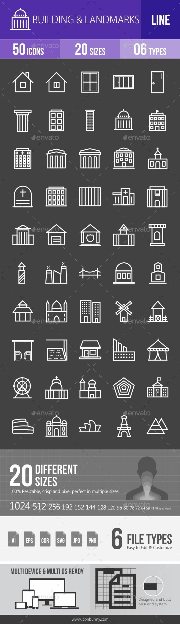 Buildings & Landmarks Line Inverted Icons - Icons