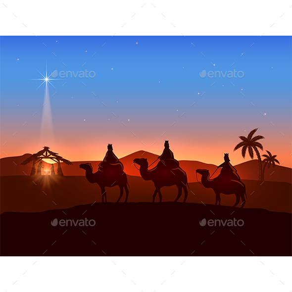 Christmas Theme with Three Wise Men and Star - Christmas Seasons/Holidays