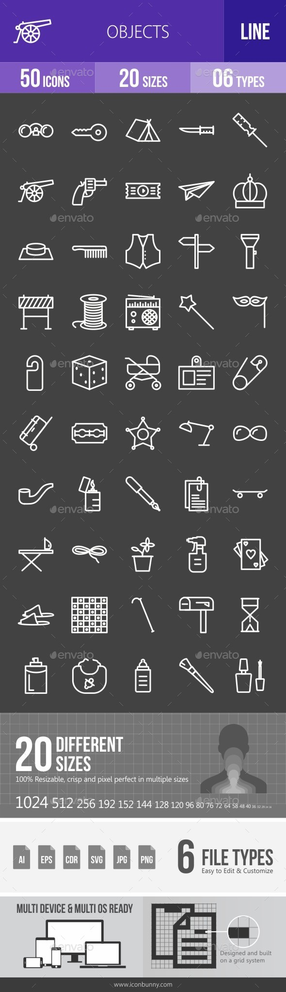 Objects Line Inverted Icons - Icons