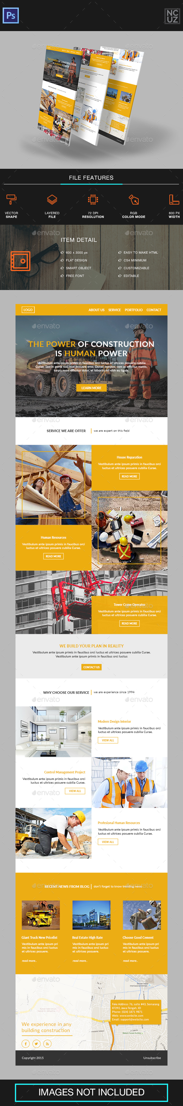 Construction Company e-Newsletter - E-newsletters Web Elements