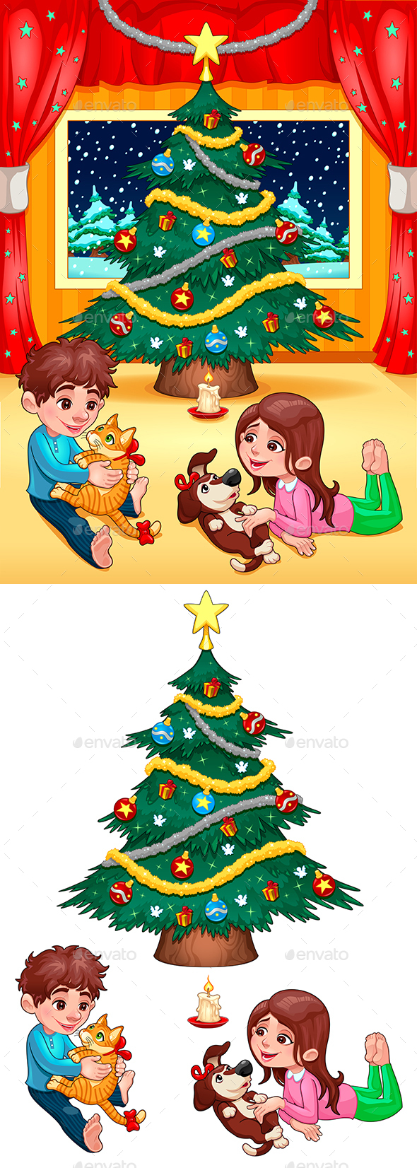 Christmas Scene with Children and Pets - Christmas Seasons/Holidays