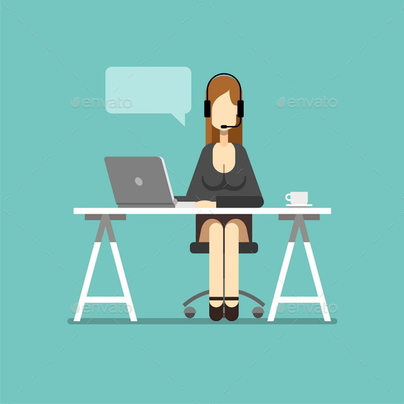 Support Business Woman Working in Office - People Characters