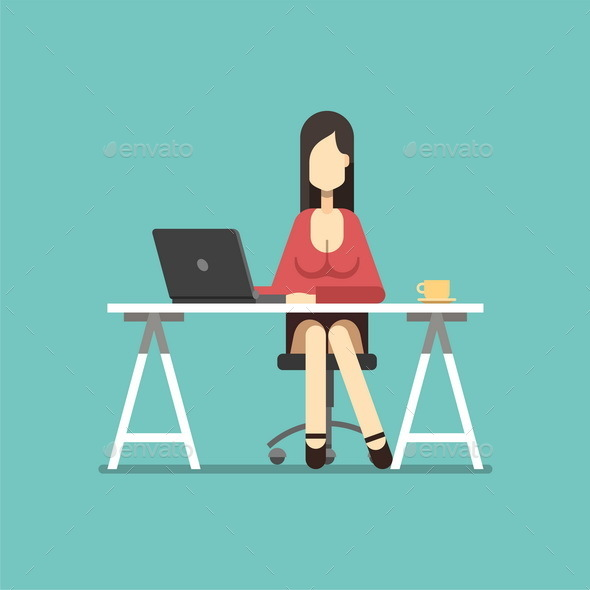 Business Woman Working in Office Character Design - People Characters