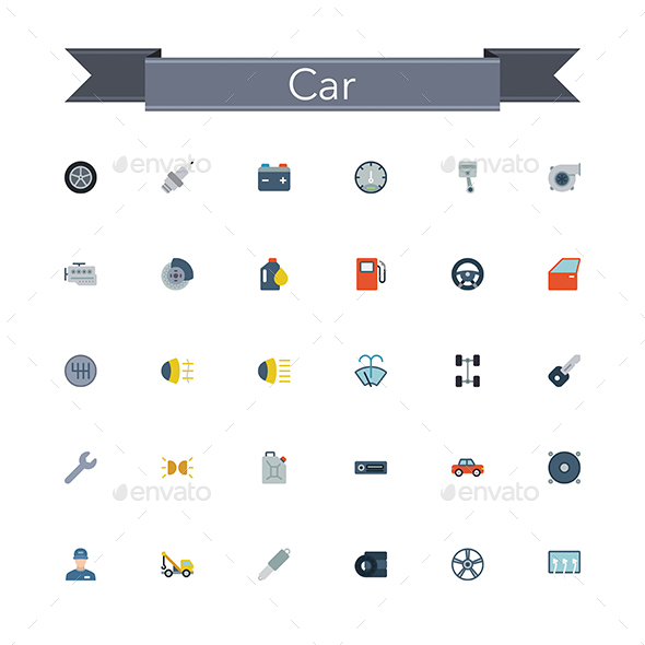 Car Flat Icons - Objects Icons