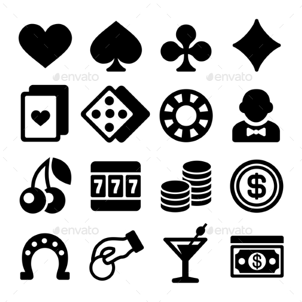 Gambling Casino Icons Set On White Background - Miscellaneous Icons