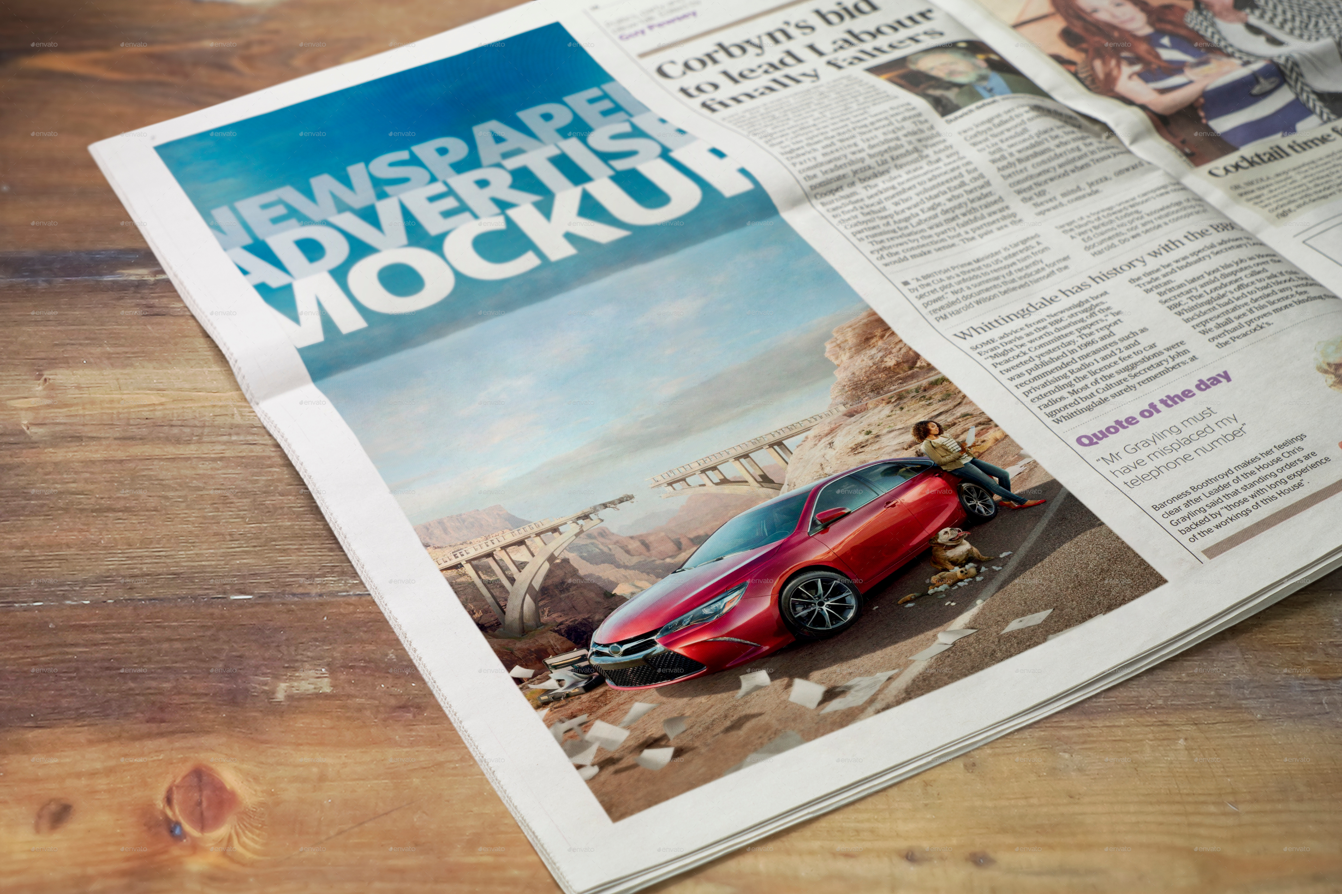 Newspaper Advertise Mockup v2 by 2dsight | GraphicRiver