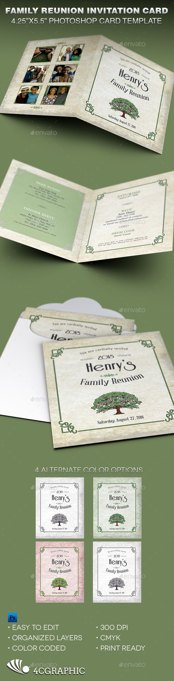 Family Reunion Invitation Card Template by 4cgraphic | GraphicRiver