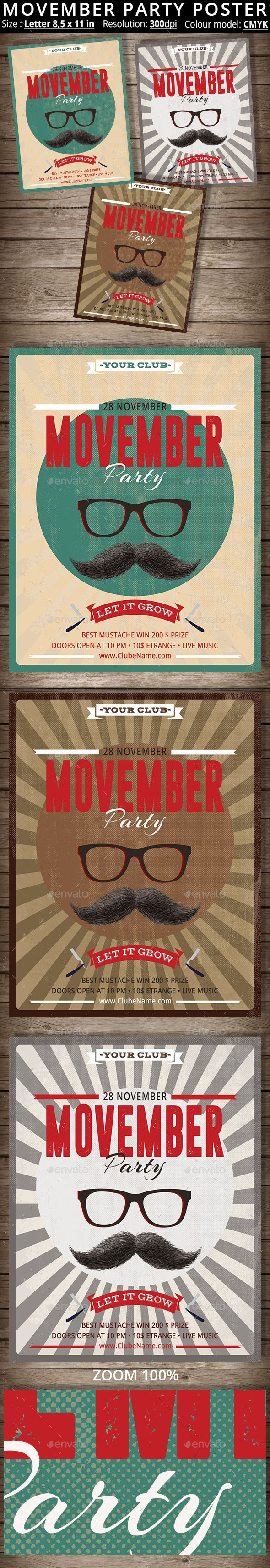 Movember Party Poster - Events Flyers