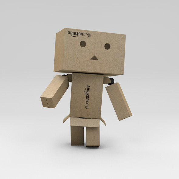 Rigged Danbo Cardboard Character with Controllers - 3DOcean Item for Sale