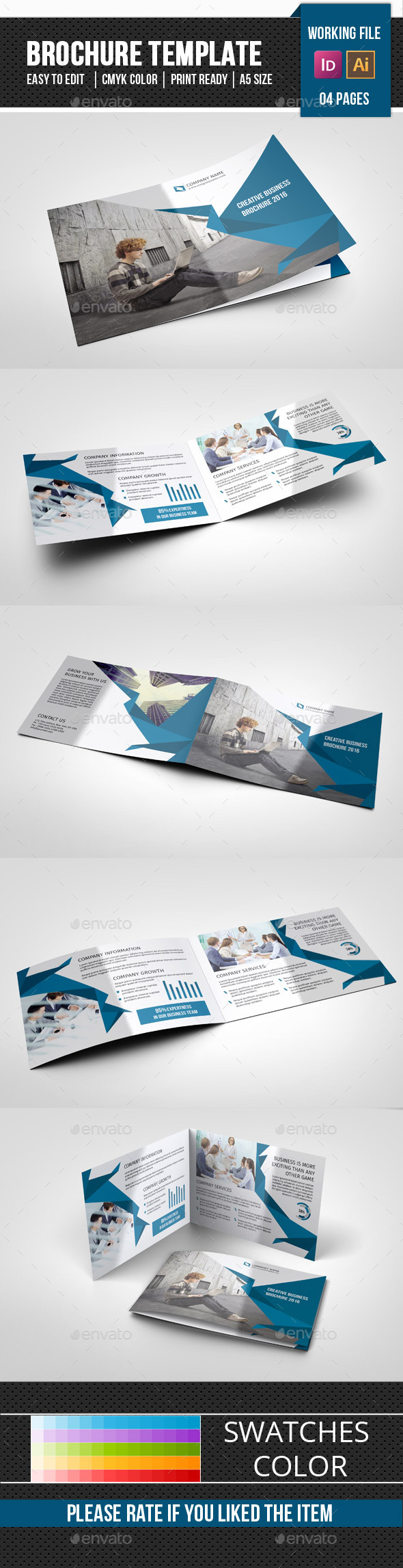 Corporate Brochure | 4 Pages Landscape Template - Corporate Brochures