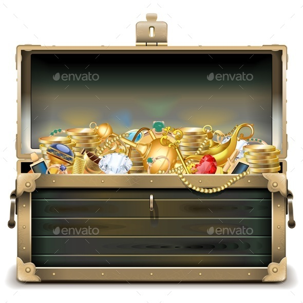 Vector Old Wooden Chest with Gold - Miscellaneous Vectors