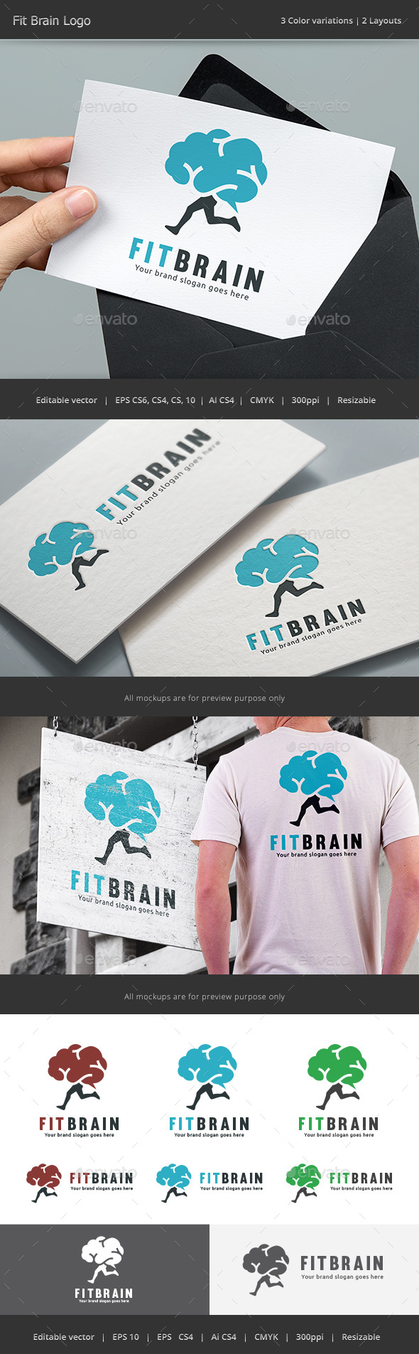 Fit Brain Logo - Vector Abstract