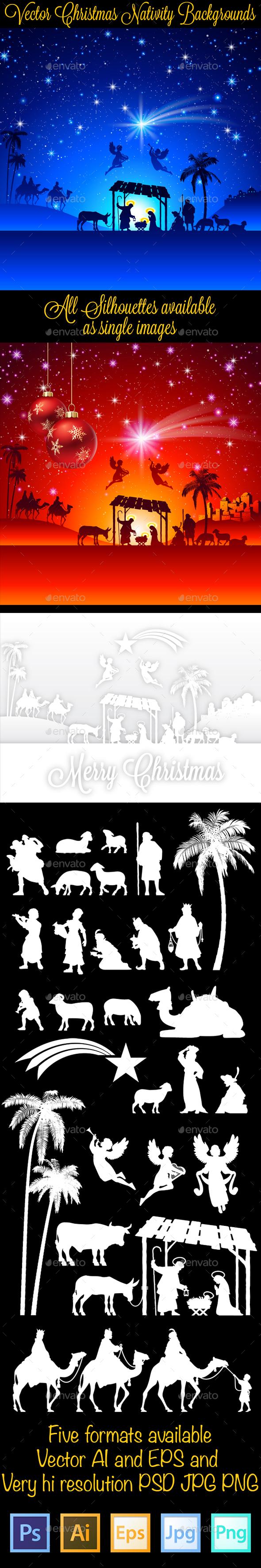 Christmas Nativity Silhouettes Backgrounds - Christmas Seasons/Holidays