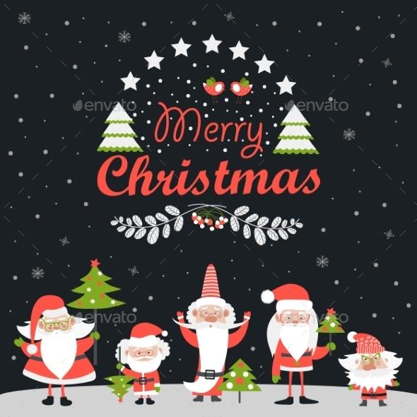 Funny Santa Clauses With Christmas Tree - Christmas Seasons/Holidays