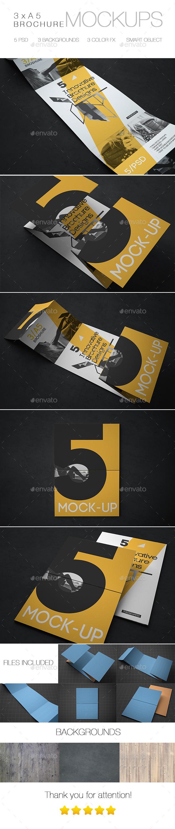 Innovative Brochure Mockup 3xA5  - Brochures Print