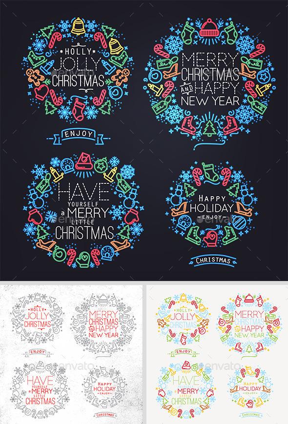 Christmas Flat Symbols - Badges & Stickers Web Elements