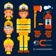 Female Firefighter and Her Stuff - GraphicRiver Item for Sale
