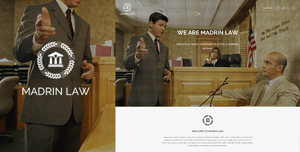 Madrin | One Page Law Firm HTML Template - Corporate Site Templates