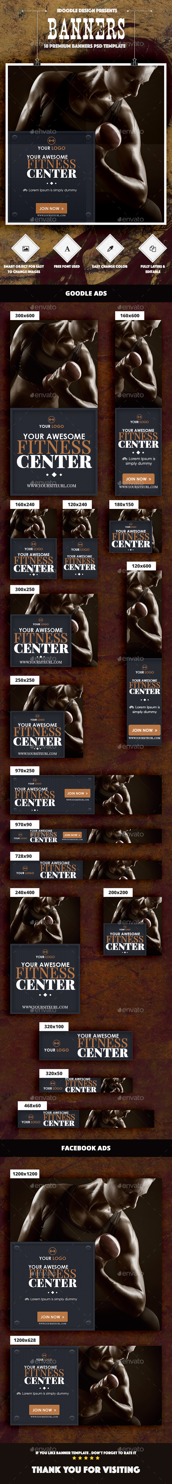 Gym & Fitness Banners Ad - Banners & Ads Web Elements