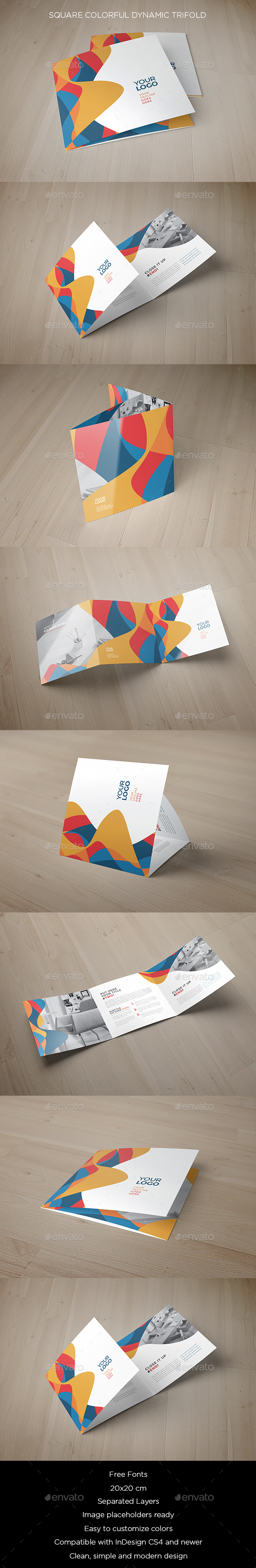 Square Colorful Dynamic Trifold - Brochures Print Templates